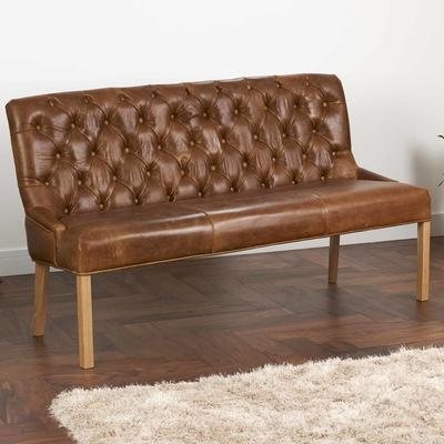 Castello Brown Cerato Leather Bench Buttoned Three Seater