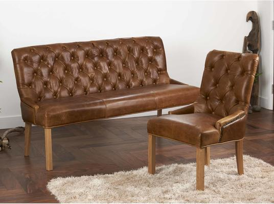 Castello Brown Cerato Leather Bench Buttoned Three Seater image 2