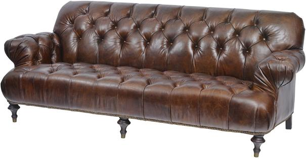Fitzgerald Vintage Brown Leather Three Seater Sofa Buttoned