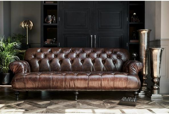 Fitzgerald Vintage Brown Leather Three Seater Sofa Buttoned image 2
