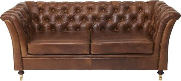 Caesar Two Seater Chesterfield Leather Buttoned