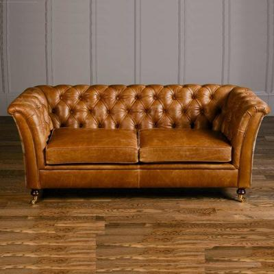 Caesar Two Seater Chesterfield Leather Buttoned image 8