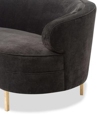Pimlico Curved 3 Seater Velvet Sofa Black or Beige image 11