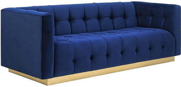 Webster Contemporary Sofa Buttoned Velvet - Grey or Blue image 3