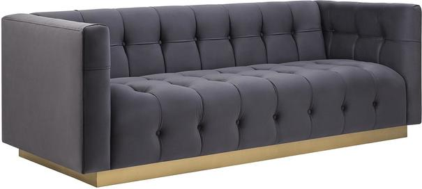 Webster Contemporary Sofa Buttoned Velvet - Grey or Blue image 9