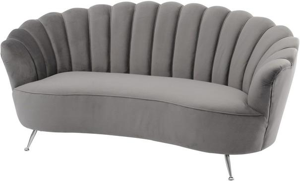 Sasha Art Deco Grey Velvet Two Seater Shell Sofa
