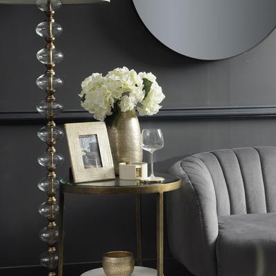 Sasha Art Deco Grey Velvet Two Seater Shell Sofa image 2