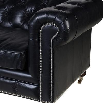 Black Leather Three Seater Chesterfield Sofa image 2