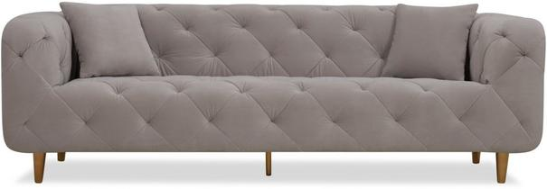 Mali Buttoned Sofa Grey with Brass Legs image 5
