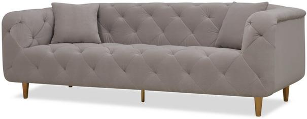 Mali Buttoned Sofa Grey with Brass Legs image 6