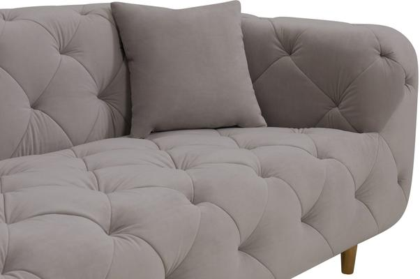 Mali Buttoned Sofa Grey with Brass Legs image 8