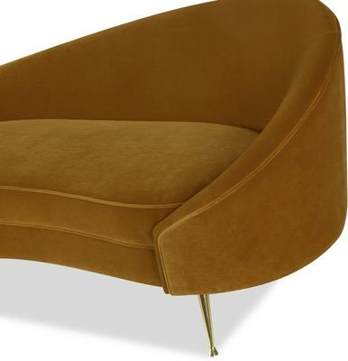 Aspen Velvet Chaise Retro Sofa in Mink or Brown image 2