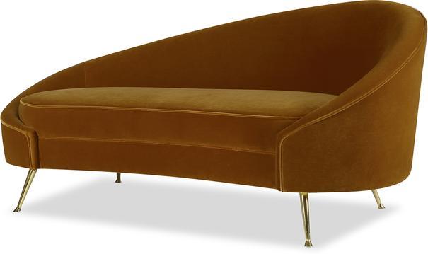 Aspen Velvet Chaise Retro Sofa in Mink or Brown
