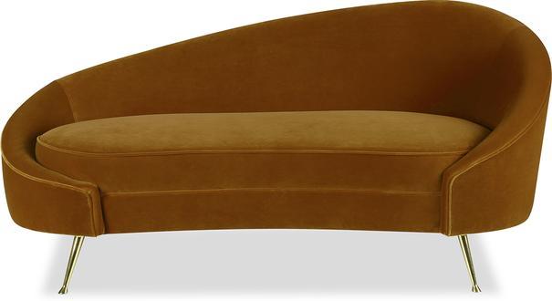 Aspen Velvet Chaise Retro Sofa in Mink or Brown image 4