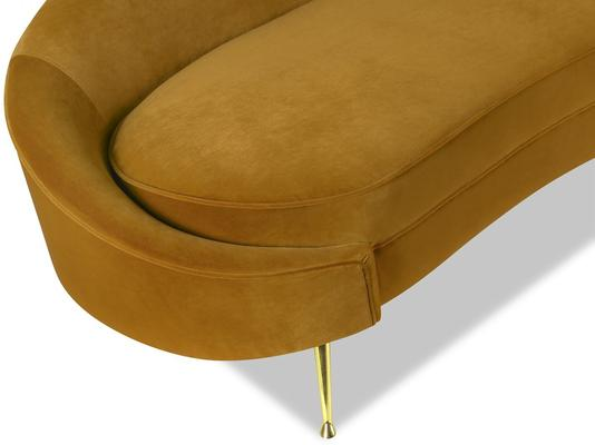 Aspen Velvet Chaise Retro Sofa in Mink or Brown image 5