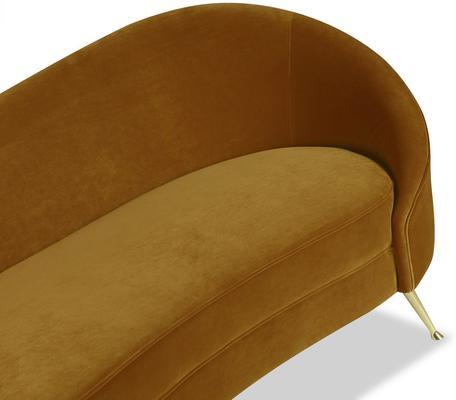 Aspen Velvet Chaise Retro Sofa in Mink or Brown image 6