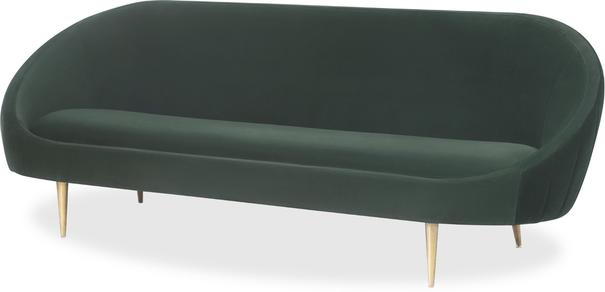 Marley Velvet Retro Sofa Light Grey or Green