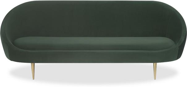 Marley Velvet Retro Sofa Light Grey or Green image 2
