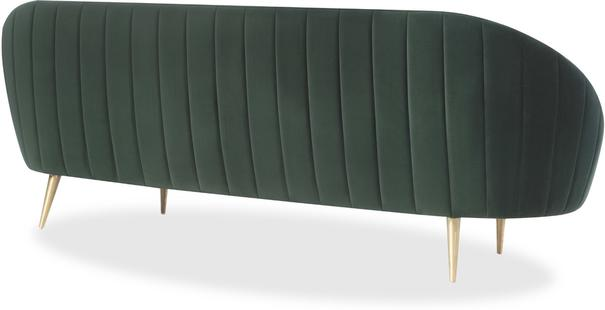 Marley Velvet Retro Sofa Light Grey or Green image 3