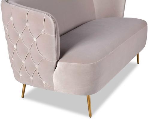 Prague Light Grey Velvet Sofa Button Back image 4