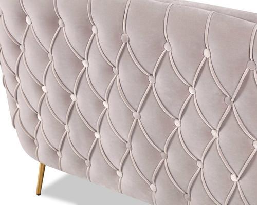 Prague Light Grey Velvet Sofa Button Back image 6