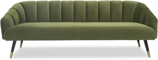 Bisset 50s Style Sofa in Green or Light Beige Velvet