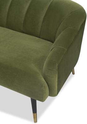 Bisset 50s Style Sofa in Green or Light Beige Velvet image 2