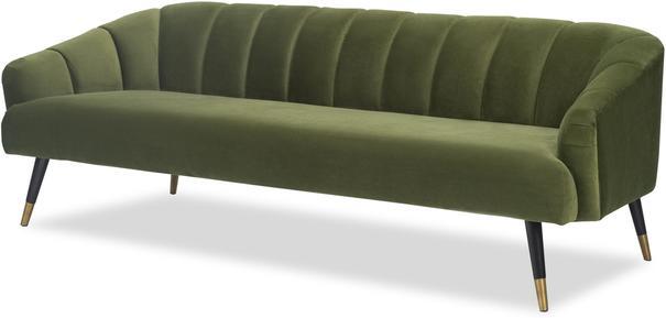 Bisset 50s Style Sofa in Green or Light Beige Velvet image 3