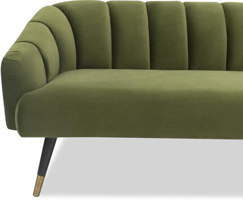 Bisset 50s Style Sofa in Green or Light Beige Velvet image 4
