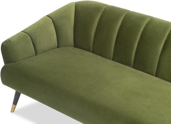 Bisset 50s Style Sofa in Green or Light Beige Velvet image 5