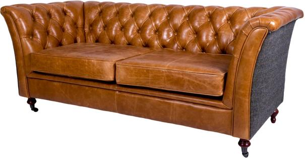 Brown Leather and Dark Harris Tweed Caesar Two Seater Chesterfield Sofa