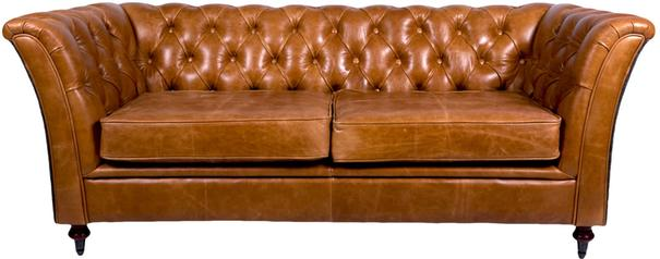 Brown Leather and Dark Harris Tweed Caesar Two Seater Chesterfield Sofa image 2