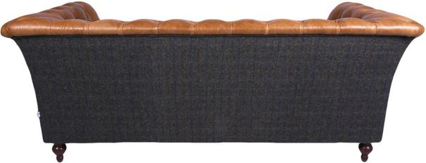 Brown Leather and Dark Harris Tweed Caesar Two Seater Chesterfield Sofa image 3