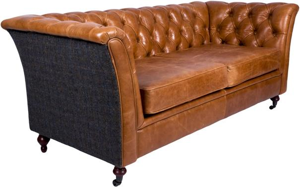 Brown Leather and Dark Harris Tweed Caesar Two Seater Chesterfield Sofa image 4