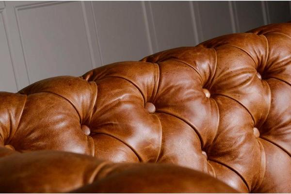 Brown Leather and Dark Harris Tweed Caesar Two Seater Chesterfield Sofa image 5