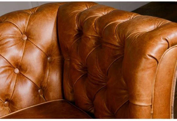 Brown Leather and Dark Harris Tweed Caesar Two Seater Chesterfield Sofa image 6