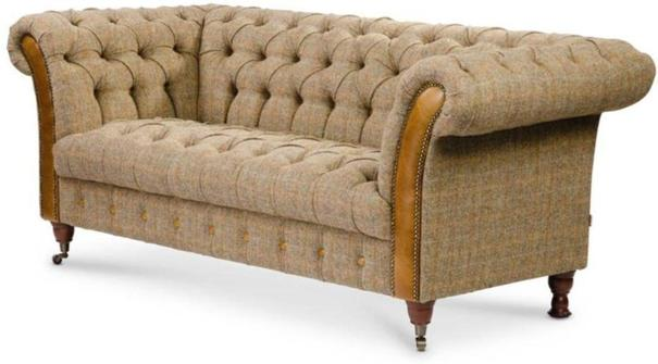 Brown Leather and Tweed Bretby Two Seater Sofa