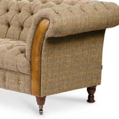 Brown Leather and Tweed Bretby Two Seater Sofa image 2