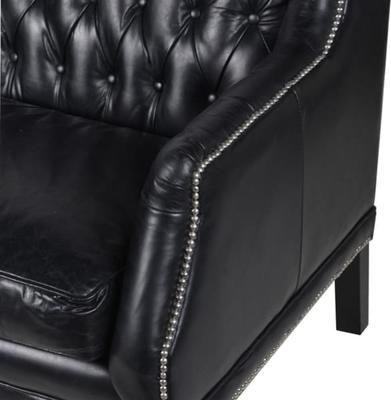 Black Leather Buttoned Three Seater Sofa image 2