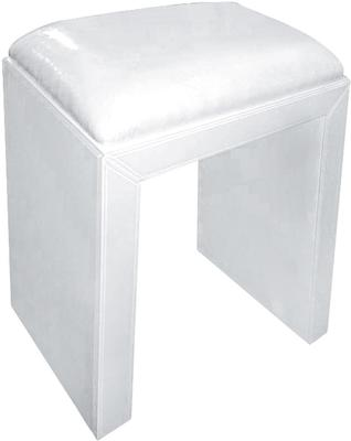 Mirrored Stool with Leatherette Seat