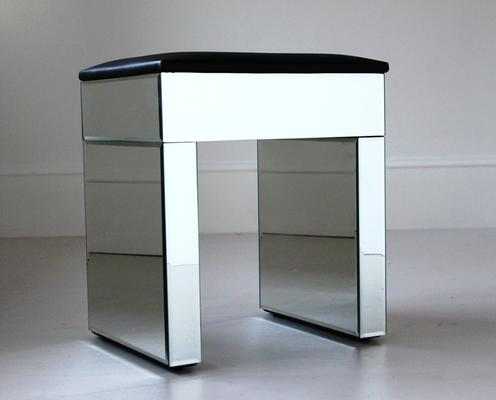 Re-Coverable Mirrored Stool with Black Cover