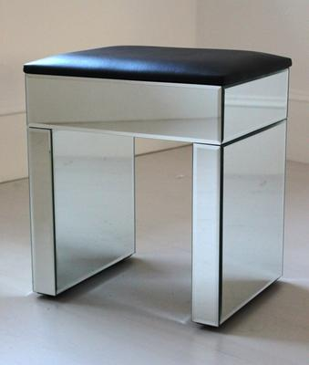 Re-Coverable Mirrored Stool with Black Cover image 3