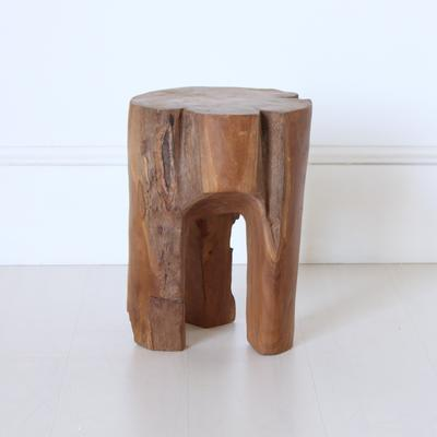 Three Leg Wooden Stool Rustic Tree Shape image 3