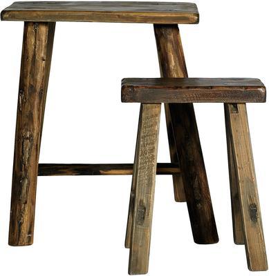 Narrow Wooden Stools Rustic Design
