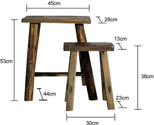 Narrow Wooden Stools Rustic Design image 2