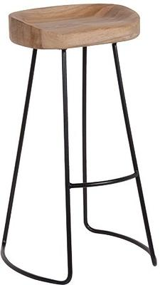 Tall Stool In Oak and Iron image 2