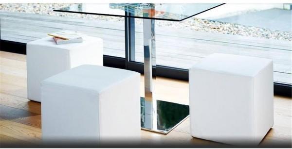 Enzo cube leather stool image 2