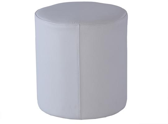 Enzo Cylinder White Leather Stool