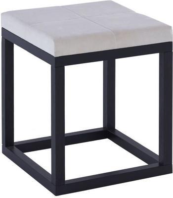 Cordoba Small Stool Black Oak Square Frame Off-White Fabric Seat