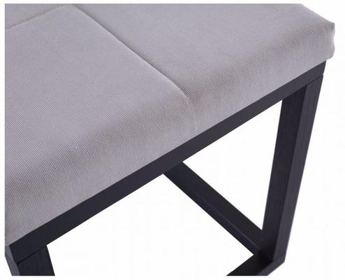 Cordoba Small Stool Black Oak Square Frame Off-White Fabric Seat image 3